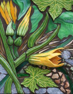 "Marjorie Hoffman • <em>Squash Plant</em> • Mosaic • 18""×22"" • $900.00"