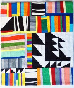"Becky McNeill • <em>Mixed Emotions</em> • Quilted fabric • 37""×39"" • $400.00"
