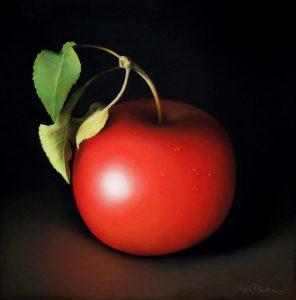 """Sangita  Phadke • <em>Crisp Red Apple</em> • Pastel • 20""""×20"""" • NFS"""