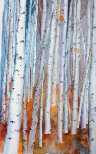 """Marie Sanderson • <em>Autumn Birches</em> • Watercolor • 9""""×14"""" • $275.00"""