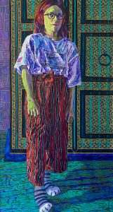 "Heidi Brueckner • <em>Tween</em> • Oil, acrylic, paper on canvas • 30""×56"" • $1,700.00"