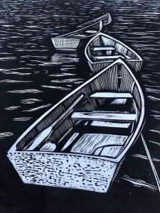 "Cynthia Cratsley • <em>Rowboats, Star Island</em> • Linocut • 9""×12"" • $325.00"