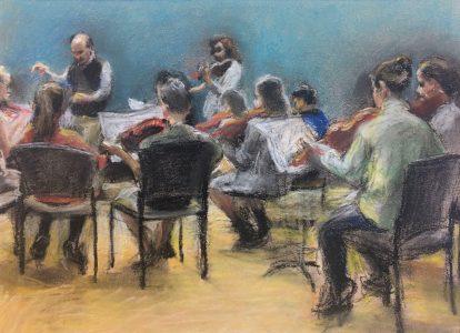 "Jian Cui • <em>The Youth Orchestra</em> • Pastel • 12""×9"" • NFS"
