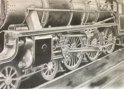 "Elizabeth Dillman • <em>Train</em> • Graphite on paper • 22""×15"" • $1,200.00"