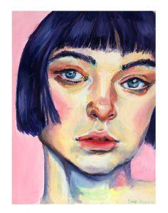 """Sara Dolnick • <em>Sadness in Pastel</em> • Oil on gesso board • 6""""×8"""" • NFS"""