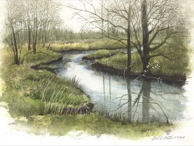 "Gail Guth • <em>Early May, Cedar Creek</em> • Watercolor and gouache • 15""×11"" • NFS"