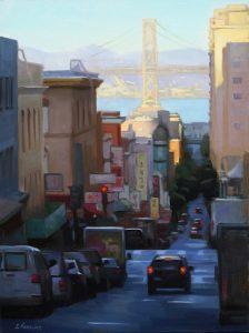 "<span class=""award_name"">Merit Award</span>Erica Norelius • <em>Overlooking Chinatown</em> • Oil on panel • 18""×24"" • $2,400.00"