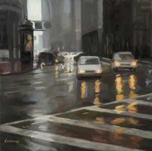 "Erica Norelius • <em>Market & New Montgomery, SF</em> • Oil on panel • 12""×12"" • $950.00"