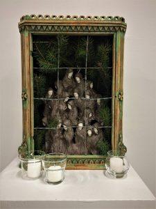 "Tatiana Patrone • <em>Anna Akhmatova's Requiem</em> • Ceramics, barbed wire • 16""×19""×8"" • $1,000.00"