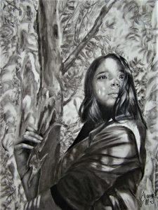 """Anna Titterington • <em>Sunlit Muse</em> • Charcoal • 18""""×24"""" • POR"""