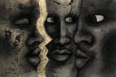 "Chelsea Whelham • <em>Breathing Space</em> • Collograph print, charcoal • 26""×17"" • $100.00"