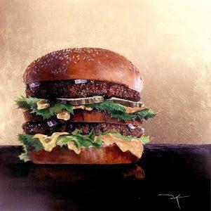 "Duke Windsor • <em>""Two-All-Beef-Patties…""</em> • Acrylic and gold leaf • 16""×16"" • $2,056.00"