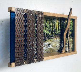 """Eva M. Capobianco • <em>FLT – Map 12, Stream Crossing II</em> • Mixed media • 17""""×11""""×5"""" • $425.00<a class=""""purchase"""" href=""""https://state-of-the-art-gallery.square.site/product/eva-m-capobianco-flt-map-12-stream-crossing-ii/271"""" target=""""_blank"""">Buy</a>"""