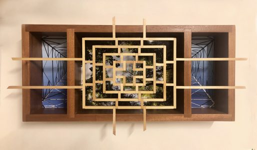 """Eva M. Capobianco • <em>FLT – Map 19, Lattice, Trees and Tower</em> • Photos and re-used wood • 24""""×12""""×4"""" • $475.00<a class=""""purchase"""" href=""""https://state-of-the-art-gallery.square.site/product/eva-m-capobianco-flt-map-19-lattice-trees-and-tower/274"""" target=""""_blank"""">Buy</a>"""