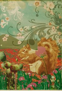 """Patricia Hunsinger • <em>Poppy Squirrel</em> • Screenprint, archival ink • 24¼""""×32½"""" • $300.00<a class=""""purchase"""" href=""""https://state-of-the-art-gallery.square.site/product/patricia-hunsinger-poppy-squirrel/288"""" target=""""_blank"""">Buy</a>"""