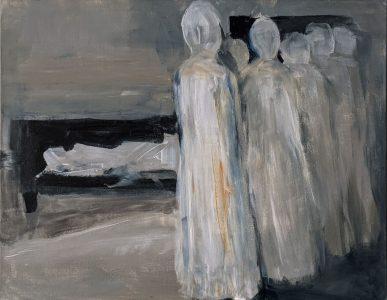 "Diana Ozolins • <em>Unwelcome Intruders</em> • Acrylic on canvas • 18""×13"" • NFS"