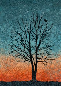 """Daniel McPheeters • <em>Twilight Crowflight</em> • Mixed media on panel • 17""""×24"""" • $200.00<a class=""""purchase"""" href=""""https://state-of-the-art-gallery.square.site/product/daniel-mcpheeters-twilight-crowflight/338"""" target=""""_blank"""">Buy</a>"""