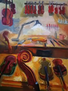 """Irina Kassabova • <em>The Light of the Luthier</em> • Oil on canvas • 30""""×40"""" • $630.00<a class=""""purchase"""" href=""""https://state-of-the-art-gallery.square.site/product/irina-kassabova-the-light-of-the-luthier/408"""" target=""""_blank"""">Buy</a>"""