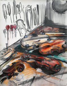 "Irina Kassabova • <em>The Luthier III</em> • Charcoal and pastel on paper • 32""×40"" • NFS"