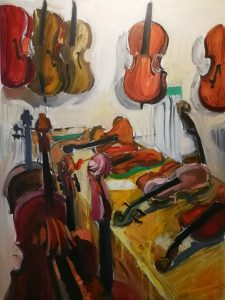 """Irina Kassabova • <em>To the Luthier</em> • Oil on canvas • 30""""×40"""" • $630.00<a class=""""purchase"""" href=""""https://state-of-the-art-gallery.square.site/product/irina-kassabova-to-the-luthier/405"""" target=""""_blank"""">Buy</a>"""