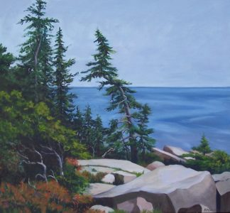 """Patty L Porter • <em>Schoodic I ~ Acadia National Park</em> • Oil on canvas • 23¼""""×21½"""" • $650.00<a class=""""purchase"""" href=""""https://state-of-the-art-gallery.square.site/product/patty-l-porter-schoodic-i-acadia-national-park/420"""" target=""""_blank"""">Buy</a>"""