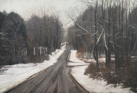 Diane Newton • <em>Late Winter, Spencer, New York</em> • Pastel on black Arches paper • NFS