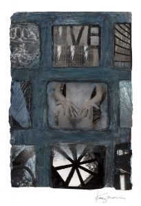 """Kathy Morris • <em>Window-Fingers</em> • Mixed media/digital print • 13""""×19"""" • $150.00<a class=""""purchase"""" href=""""mailto:kathy@kathymorris.net?subject=Inquiry about Window-Fingers"""" target=""""_blank"""">Contact</a>"""
