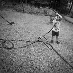 """Christine Chin • <em>Summer of Isolation: Hose (After Emmett Gowin)</em> • Photograph • 8""""×8"""" • $125.00"""