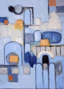 """Ethel Vrana • <em>Castle</em> • Oil on canvas • 18""""×24"""" • $560.00<a class=""""purchase"""" href=""""https://state-of-the-art-gallery.square.site/product/ethel-vrana-castle/510"""" target=""""_blank"""">Buy</a>"""