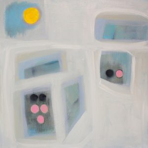 """Ethel Vrana • <em>Yellow, Black and Pink</em> • Oil on canvas  • 24""""×24"""" • $640.00<a class=""""purchase"""" href=""""https://state-of-the-art-gallery.square.site/product/ethel-vrana-yellow-black-and-pink/516"""" target=""""_blank"""">Buy</a>"""