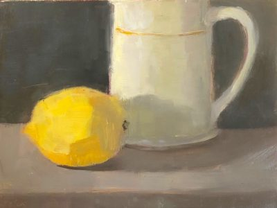 """Ileen Kaplan • <em>Lemon and Cup</em> • Oil on panel • 8""""×6"""" • $50.00<a class=""""purchase"""" href=""""https://state-of-the-art-gallery.square.site/product/ileen-kaplan-lemon-and-cup/546"""" target=""""_blank"""">Buy</a>"""