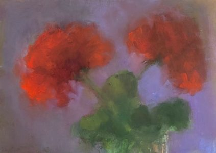 """Ileen Kaplan • <em>Two Red Geraniums</em> • Oil on panel • 8""""×6"""" • $50.00<a class=""""purchase"""" href=""""https://state-of-the-art-gallery.square.site/product/ileen-kaplan-two-red-geraniums/547"""" target=""""_blank"""">Buy</a>"""