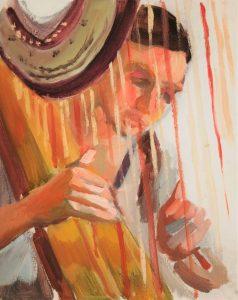 "Irina Kassabova • <em>Harp Player II</em> • Oil on canvas • 8""×10"" • $35.00<span class=""sold""></span>"