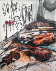 """Irina Kassabova • <em>The Luthier III</em> • Charcoal and pastel • 38""""×47"""" • $770.00<span class=""""sold""""></span>"""