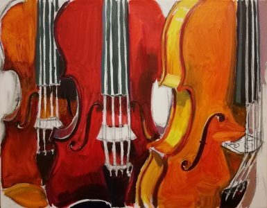 """Irina Kassabova • <em>The Red Violin</em> • Oil on canvas • 30""""×24"""" • $450.00<a class=""""purchase"""" href=""""https://state-of-the-art-gallery.square.site/product/irina-kassabova-the-red-violin/576"""" target=""""_blank"""">Buy</a>"""