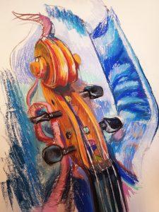 "Irina Kassabova • <em>The Ribbon (the Viola Case)</em> • Pastel • 30""×39"" • $425.00<span class=""sold""></span>"