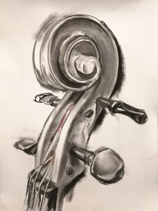 """Irina Kassabova • <em>The Scroll II</em> • Charcoal and pastel • 30""""×39"""" • $425.00<a class=""""purchase"""" href=""""https://state-of-the-art-gallery.square.site/product/irina-kassabova-the-scroll-ii/578"""" target=""""_blank"""">Buy</a>"""