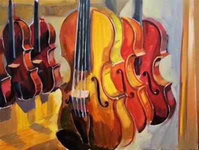 "Irina Kassabova • <em>Varnish and Sound </em> • Oil on canvas • 32""×26"" • $460.00<span class=""sold""></span>"