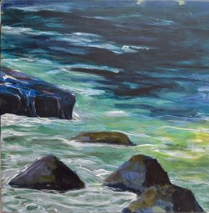 """Diana Ozolins • <em>Schoodic Rock Study</em> • Acrylic on canvas • 12""""×12"""" • $50.00<a class=""""purchase"""" href=""""https://state-of-the-art-gallery.square.site/product/diana-ozolins-schoodic-rock-study/568"""" target=""""_blank"""">Buy</a>"""