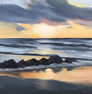 "Patty L Porter • <em>Breakwater Sunset</em> • Oil on board • 6""×6"" • $50.00<span class=""sold""></span>"