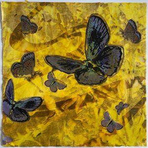 "Patricia Hunsinger • <em>Study of Blue</em> • Medium: reduction woodcut, screenprint and encaustic on kozo • 12""×12"" • $50.00<span class=""sold""></span>"