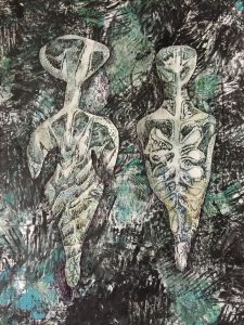 """Patricia Brown • <em>Primordial #29</em> • Mono-print collage, acrylic on paper • 11""""×14"""" • $50.00<a class=""""purchase"""" href=""""https://state-of-the-art-gallery.square.site/product/patricia-brown-primordial-29/544"""" target=""""_blank"""">Buy</a>"""