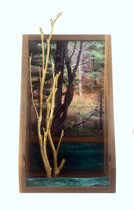 """Eva M. Capobianco • <em>FLT, M13 - Pond, Trees and Green Glass</em> • Photo, stained glass, found and reused wood • 12""""×23""""×5"""" • $425.00<a class=""""purchase"""" href=""""https://state-of-the-art-gallery.square.site/product/eva-m-capobianco-flt-m13-pond-trees-and-green-glass/637"""" target=""""_blank"""">Buy</a>"""