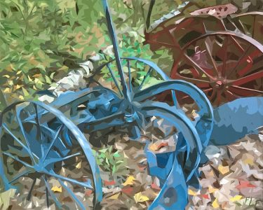 """<div style=""""pointer-events: none"""">Frances Fawcett • <em>Blue Machine</em> • Acrylic paint & Ultrachrome ink on canvas • 21½""""×17½"""" • $650.00<a class=""""purchase"""" href=""""https://state-of-the-art-gallery.square.site/product/frances-fawcett-blue-machine/654"""" target=""""_blank"""">Buy</a></div>"""