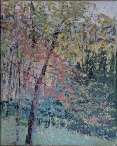 """Diana Ozolins • <em>Back Yard Reveries October</em> • Oil on canvas • 8""""×10"""" • $50.00<span class=""""sold""""></span>"""