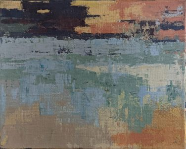 "Diana Ozolins • <em>Mad River October Noon</em> • Acrylic on canvas • 10""×8"" • $50.00"