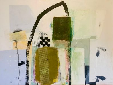 """Ileen Kaplan • <em>Spring Fever</em> • Oil, acrylic, collage on panel • 20""""×16"""" • $900.00<a class=""""purchase"""" href=""""https://state-of-the-art-gallery.square.site/product/ileen-kaplan-spring-fever/663"""" target=""""_blank"""">Buy</a>"""
