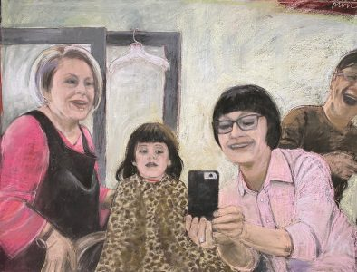 """Diane W Newton • <em>At the Salon: Modern Life</em> • Pastel on black arches paper • 40""""×30"""" • $2,500.00<a class=""""purchase"""" href=""""https://state-of-the-art-gallery.square.site/product/diane-w-newton-at-the-salon-modern-life/685"""" target=""""_blank"""">Buy</a>"""