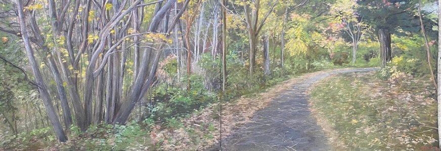 """Diane W Newton • <em>Cornell Botancial Garden ~ Autumn Afternoon</em> • Pastel on black arches paper • 60""""×22"""" • $5,000.00<a class=""""purchase"""" href=""""https://state-of-the-art-gallery.square.site/product/diane-w-newton-cornell-botancial-garden-autumn-afternoon/693"""" target=""""_blank"""">Buy</a>"""