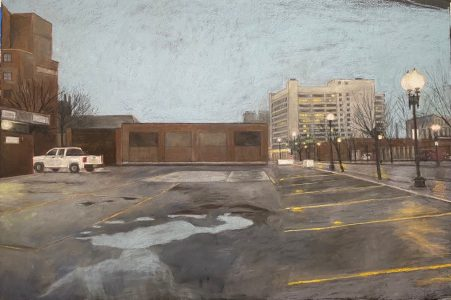 """Diane W Newton • <em>The Old Neighborhood/South End</em> • Pastel on black arches paper • 44""""×30"""" • $3,500.00<a class=""""purchase"""" href=""""https://state-of-the-art-gallery.square.site/product/diane-w-newton-the-old-neighborhood-south-end/680"""" target=""""_blank"""">Buy</a>"""
